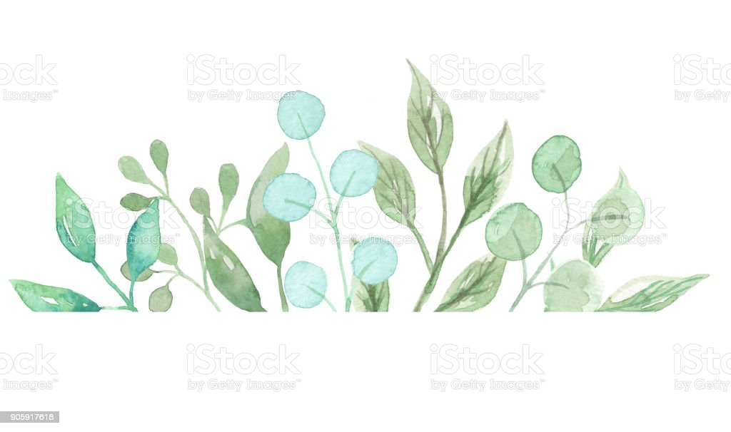 Leaves Watercolor Leaf Border Frames Pretty Greenery Foliage Stock ...