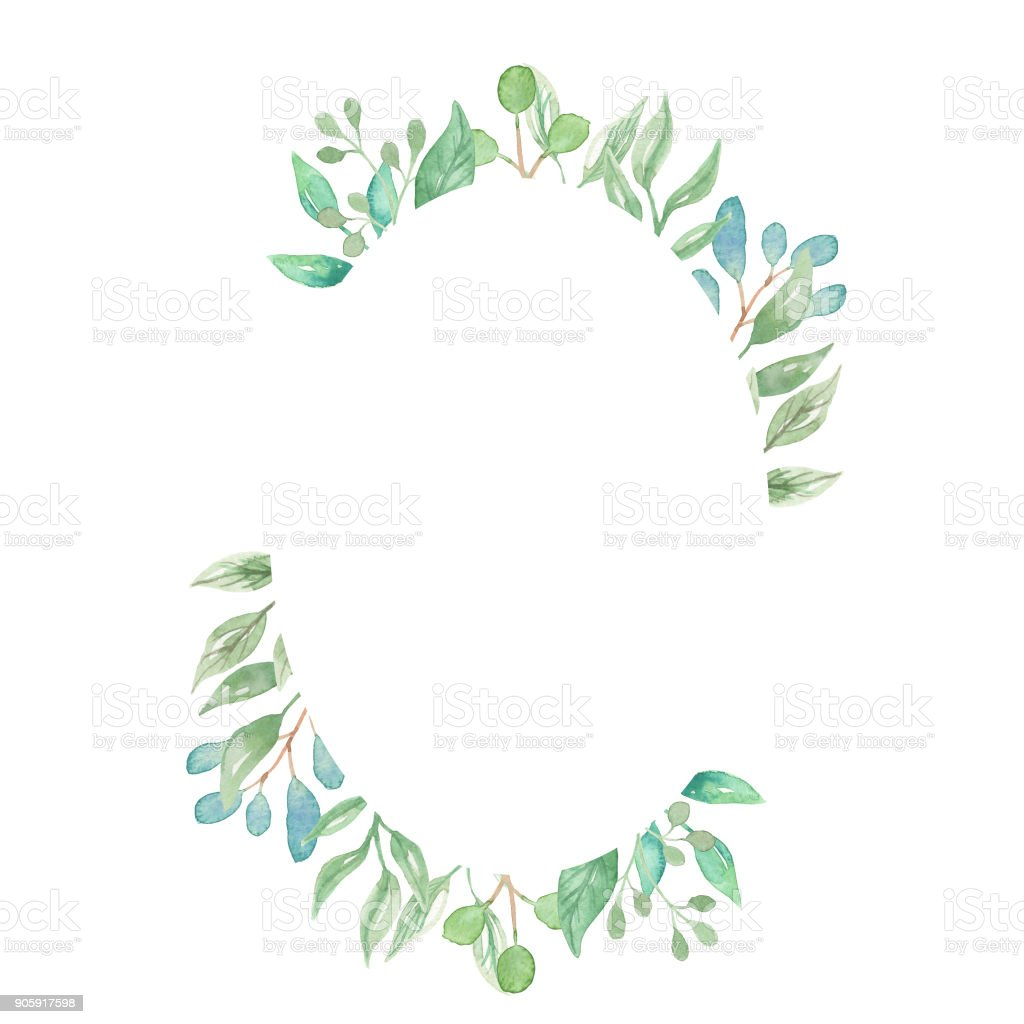 d25f23c842b0 Leaves Watercolor Leaf Oval Frames Pretty Greenery Foliage royalty-free  leaves watercolor leaf oval frames