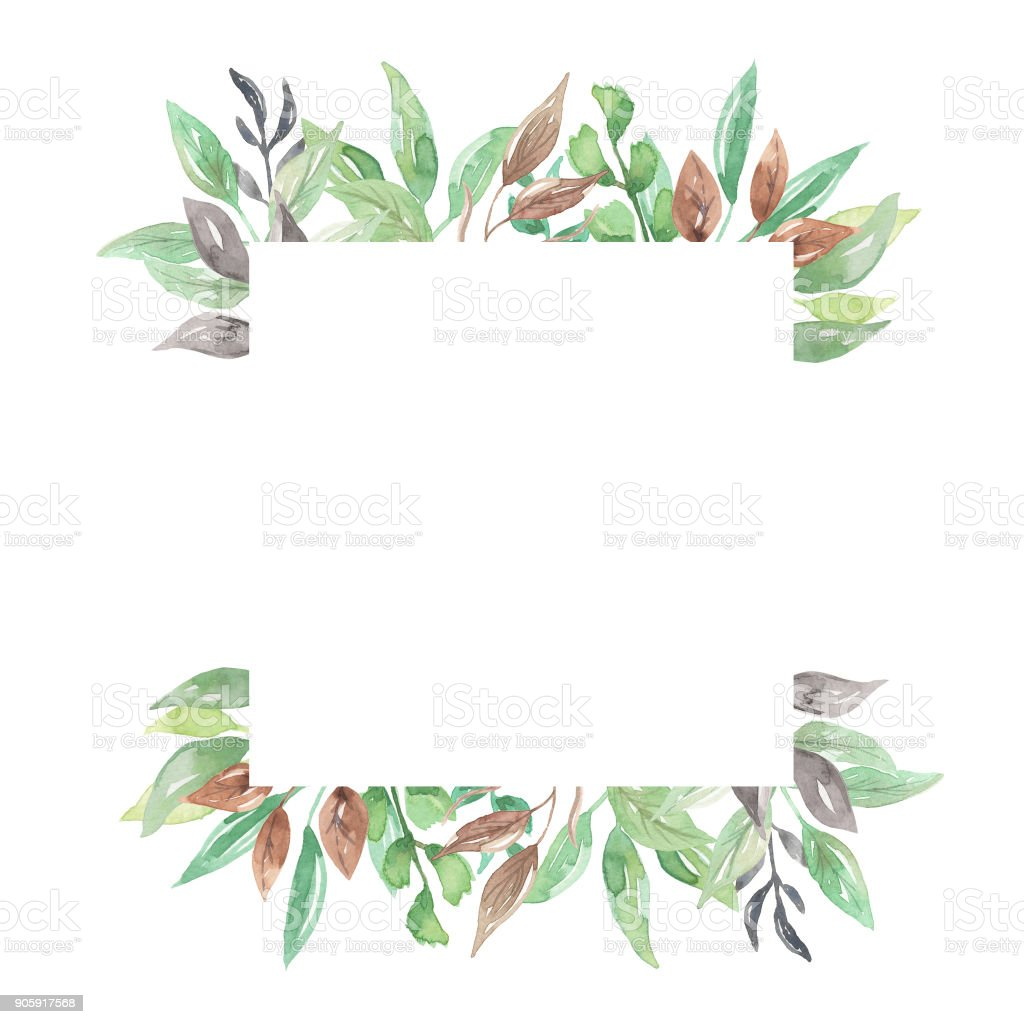 Leaves Watercolor Leaf Square Frames Pretty Greenery Foliage Stock ...