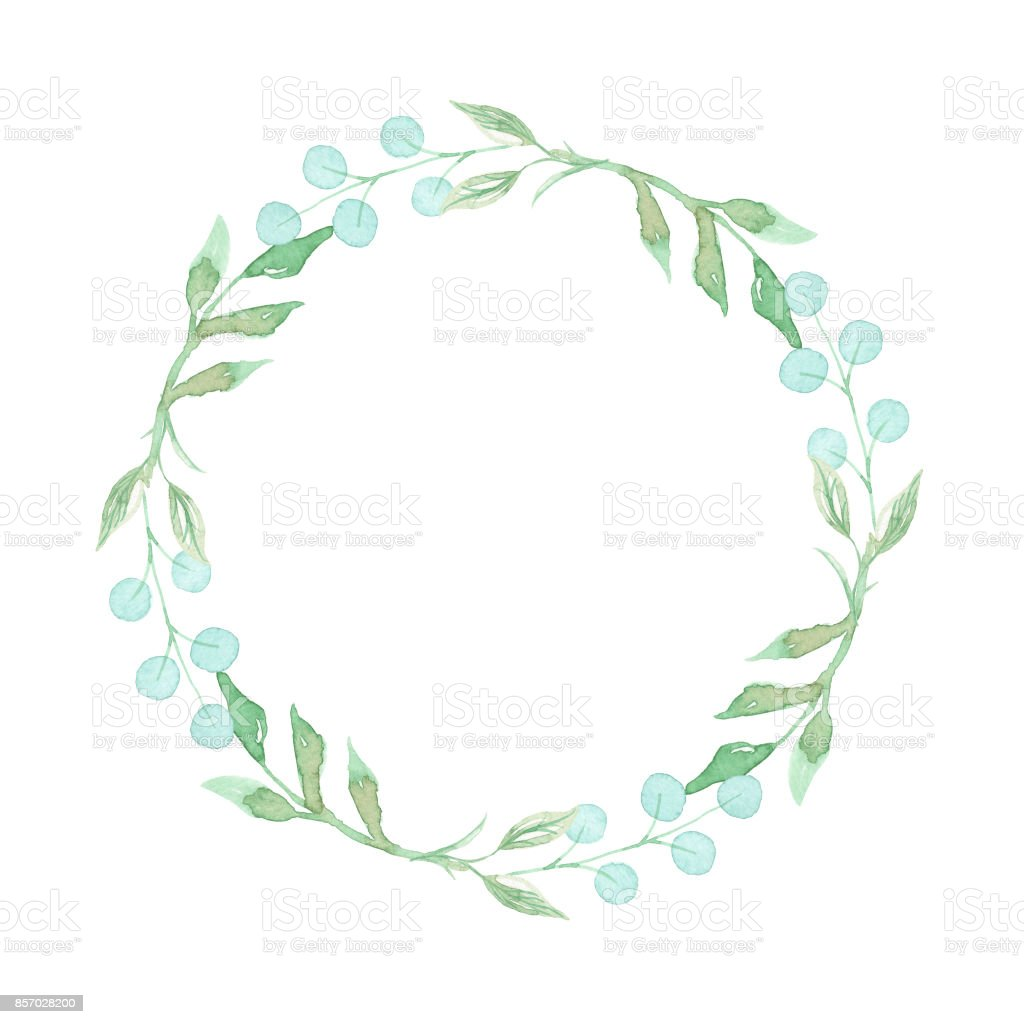 leaves wreath watercolor green leaf garland stock vector art more