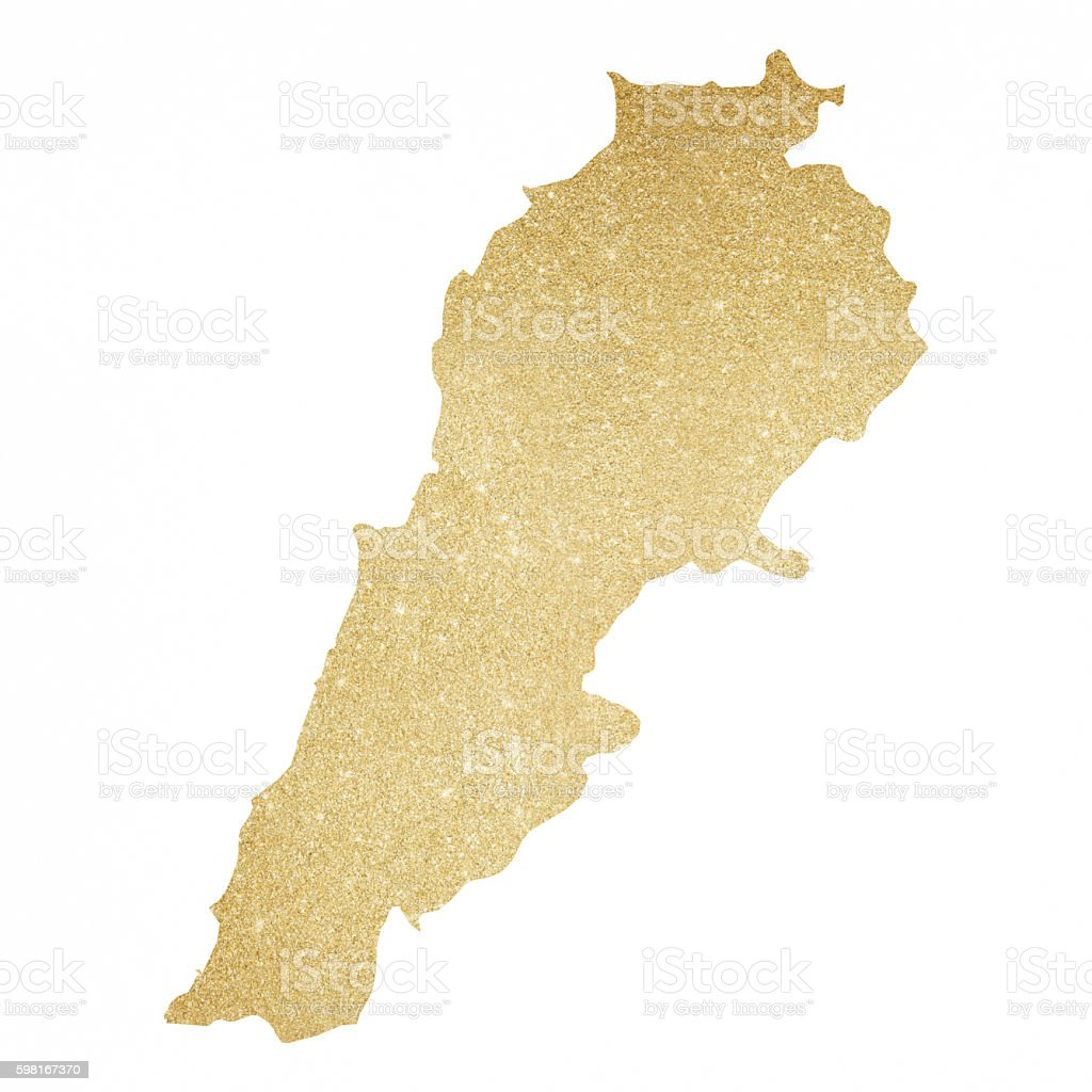 Lebanon gold glitter map stock vector art more images of back lit glitter gold map world map lebanon country gumiabroncs