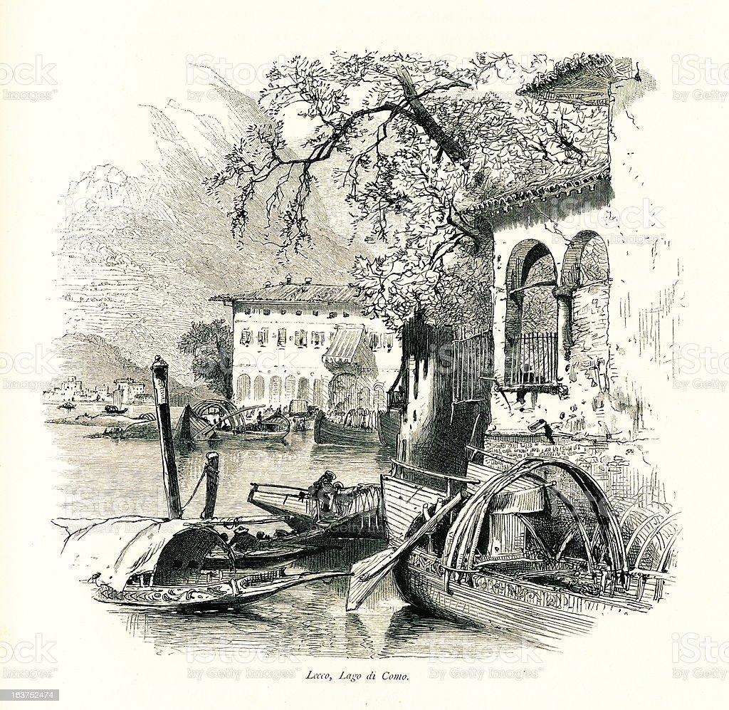 Lecco, Lake Como, Italy I Antique European Illustrations royalty-free stock vector art