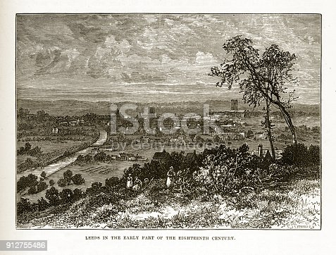 istock Leeds, England in the Early 18th Century Victorian Engraving 912755486