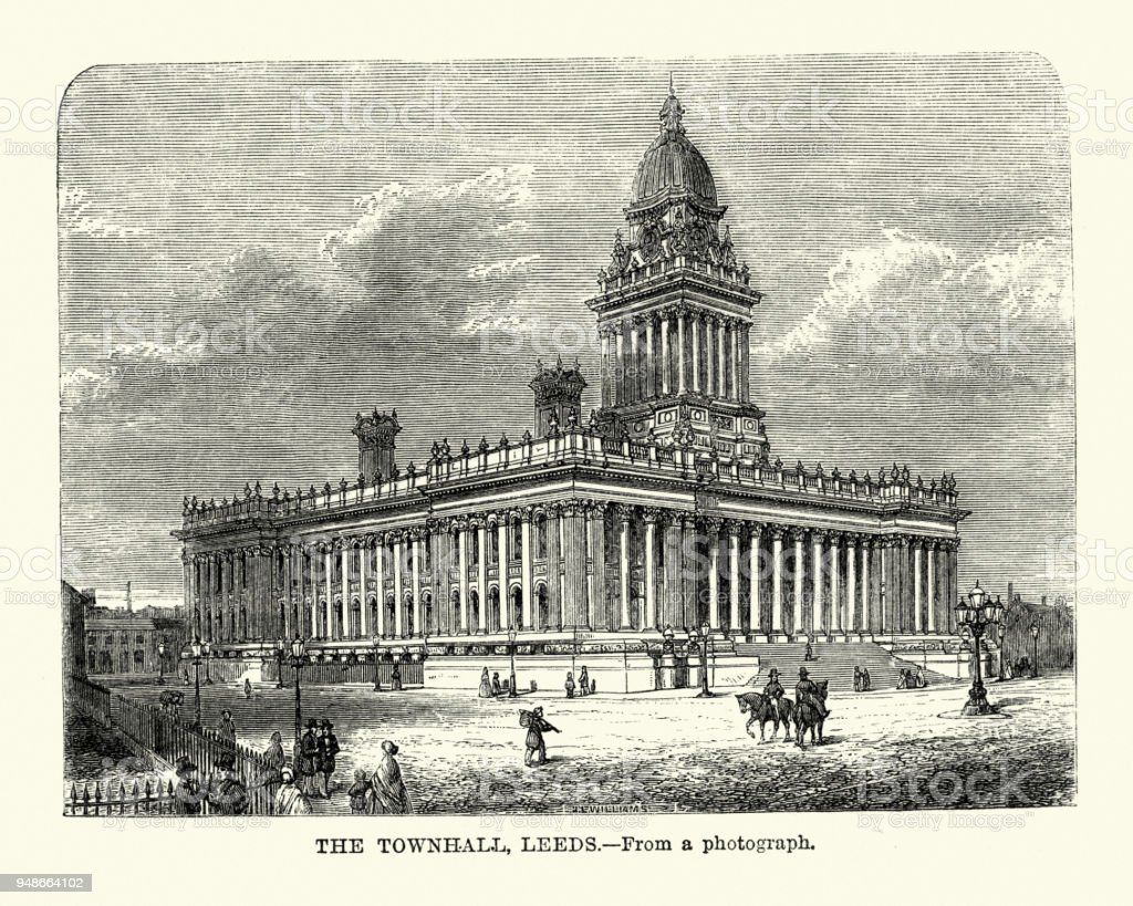 Leeds Town Hall, Leeds, West Yorkshire, 19th Century vector art illustration