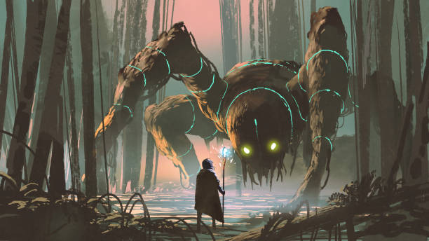 legendary creature of dark forest young wizard with magic staff and giant creature looking at each other in the forest, digital art style, illustration painting fantasy stock illustrations