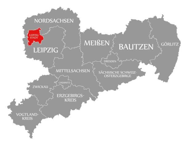 bildbanksillustrationer, clip art samt tecknat material och ikoner med leipzig stad rött markerat i karta över sachsen tyskland de - germany map leipzig
