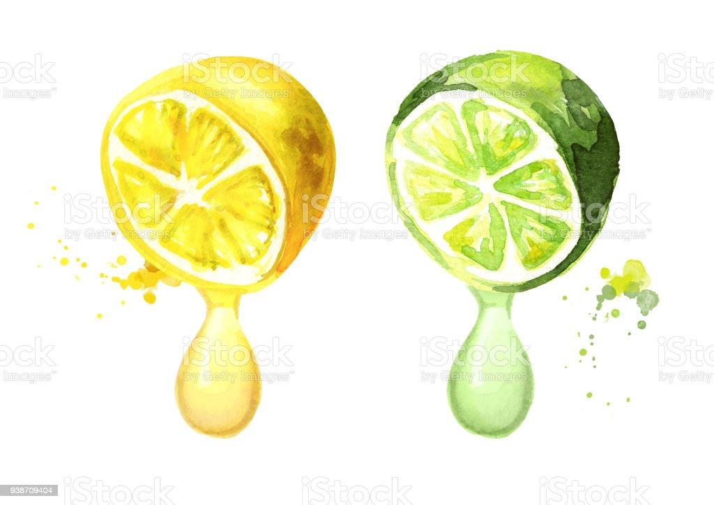 Ilustración de Y Limón Con El Jugo De La Gota Ilustración De ...