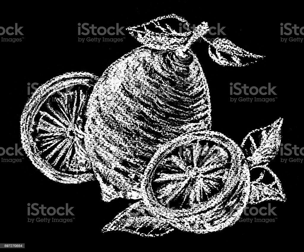 Lemon. Pastel drawing. Illustration on chalkboard. Black + white royalty-free lemon pastel drawing illustration on chalkboard black white stock vector art & more images of black background