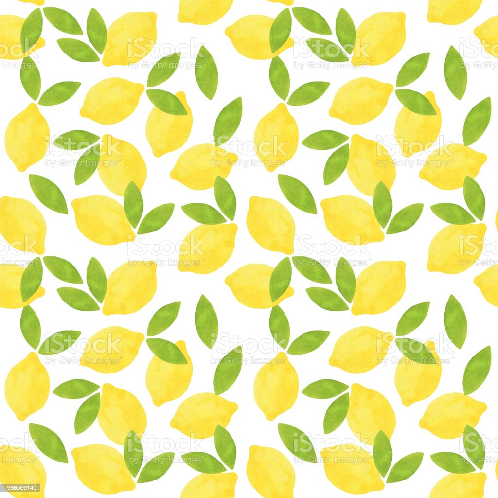 レモンのシームレスなパターン緑の葉のパターンを持つかわいいレモン