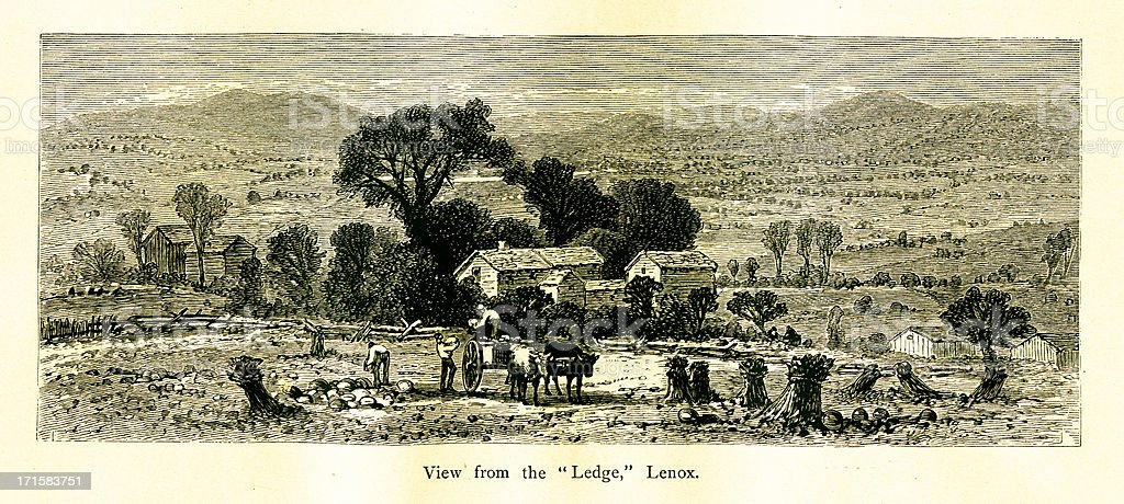 Lenox, Massachusetts | Historic American Illustrations royalty-free stock vector art