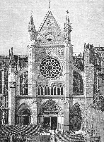 Leon cathedral, facade, Spain