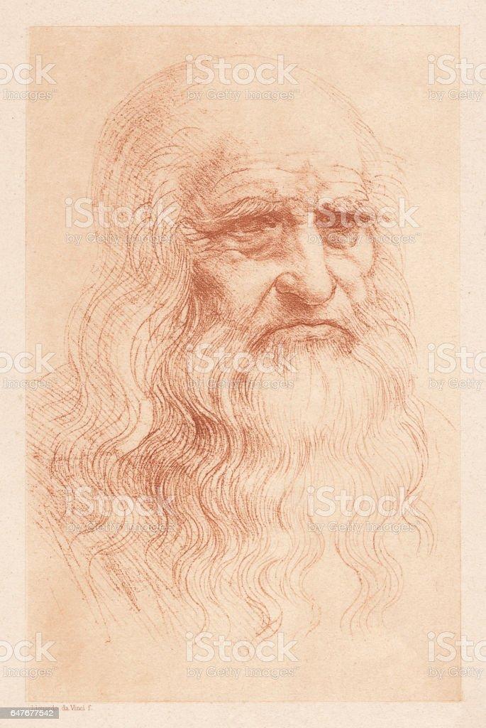 Leonardo da Vinci (1452-1519), Italian polymath, heliogravure, published in 1884 vector art illustration
