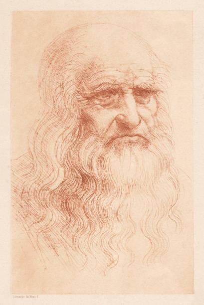 leonardo da vinci (1452-1519), italian polymath, heliogravure, published in 1884 - old man portrait drawing stock illustrations, clip art, cartoons, & icons
