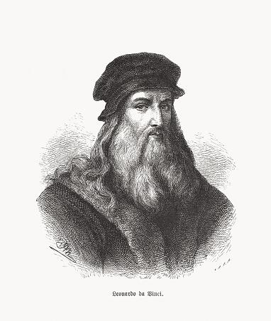 Leonardo da Vinci (1452-1519), Italian polymath, wood engraving, published 1893