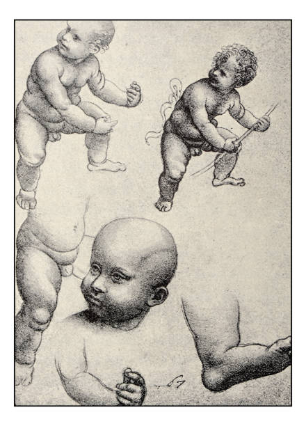 drawing of naked baby boy clip art vector images illustrations