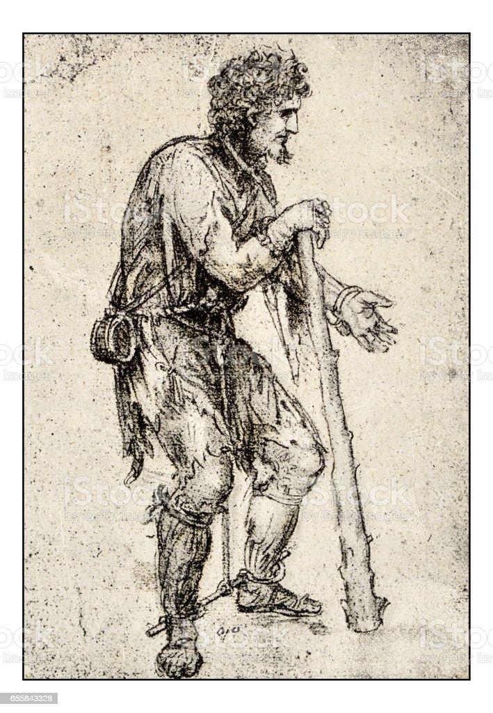 Leonardo's sketches and drawings: beggar vector art illustration