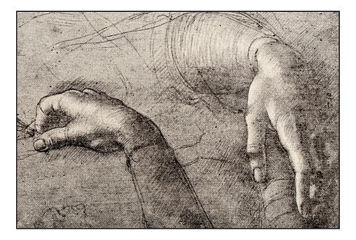 Leonardo's sketches and drawings: Hands of Mona Lisa
