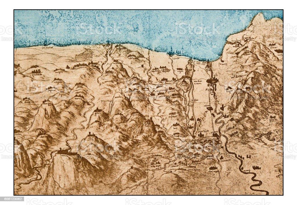 Leonardo's sketches and drawings: map of Tuscany coast vector art illustration