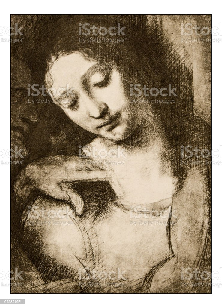 Leonardo's sketches and drawings: The last supper, St John vector art illustration