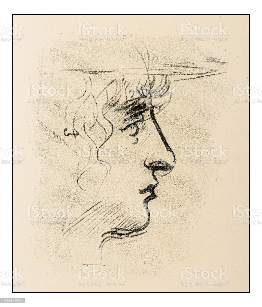 Leonardo's sketches and drawings: young woman vector art illustration