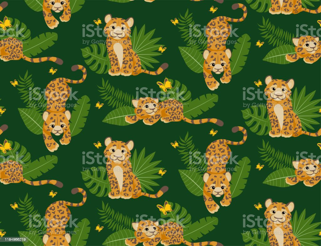 Leopard Or Jaguar With Tropical Leafs Seamless Pattern Modern And Trendy Textile Fashion Style Cute Cartoon Character Tropical Animal In African Jungle Wild Cat On Green Background For Fabric Stock Illustration