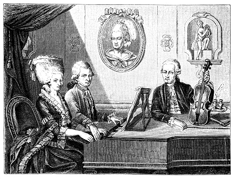 Illustration of a Leopold Mozart and his children Wolfgang Amadeus and Marianne; Family picture in the Mozarteum by De la Croce (1779)