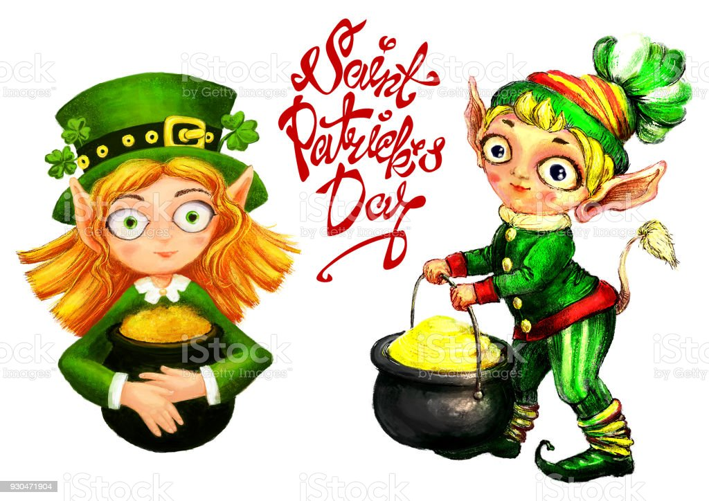 leprechaun with a pot of gold and clover stock vector art more