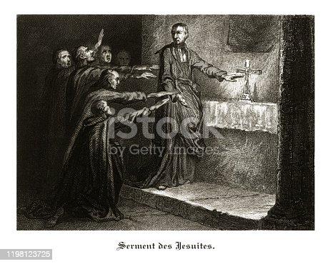 Very Rare, Beautifully Illustrated Antique Antique French Engraved Illustrations of Oath of the Jesuits, Les Couvents (The Convent), Published in 1846. Source: Original edition from my own archives. Copyright has expired on this artwork. Digitally restored.