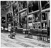 Les Salles Rouges (The Red Rooms) at Palais du Louvre in Paris, France. Vintage etching circa mid 19th century.