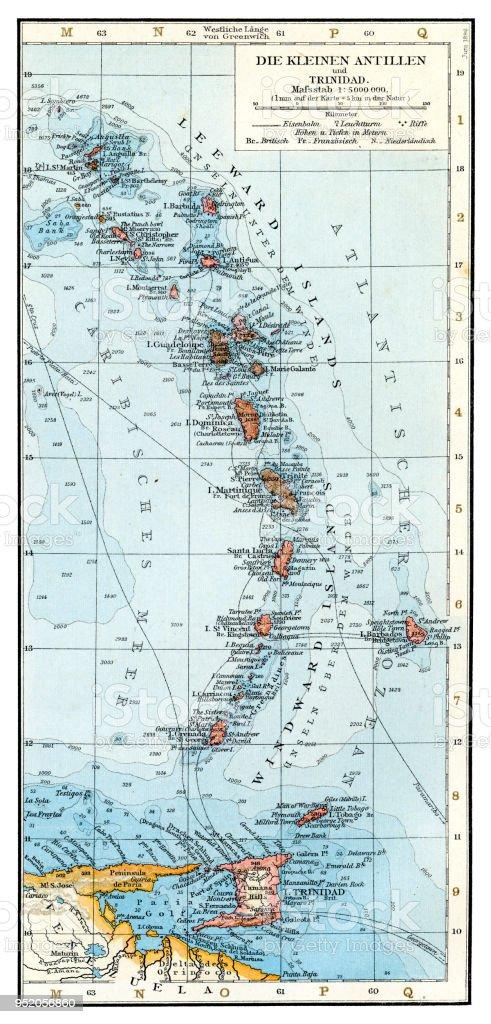 Kleine Antillen Karte.Kleine Antillen Karte 1896 Stock Vektor Art Und Mehr Bilder