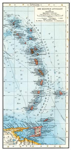 bildbanksillustrationer, clip art samt tecknat material och ikoner med små antillerna karta 1896 - saint lucia