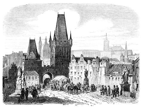 Lesser Town Bridge Towers Prague drawing 1854