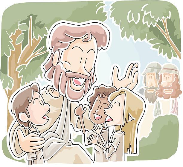Let the children come vector art illustration