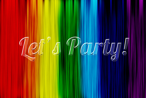 Let us party phrase made with glass transparent letters.