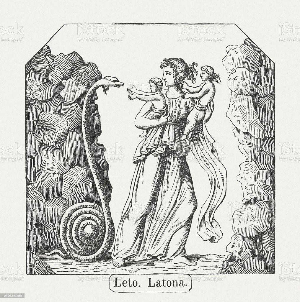 Leto, Greek mythology, wood engraving, published in 1878 vector art illustration