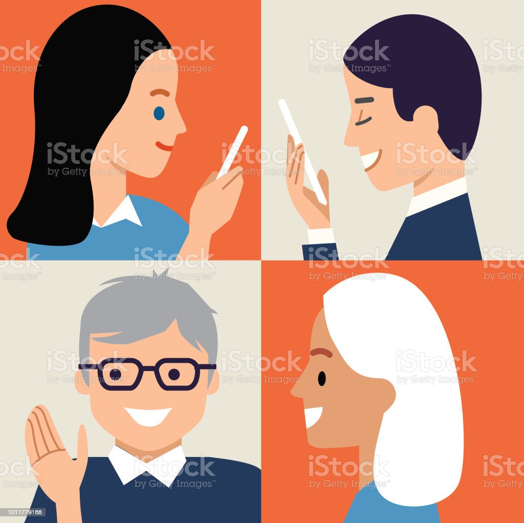 Let's Communicate again vector art illustration