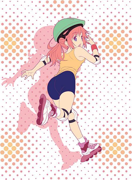 let's running! - anime girl stock illustrations