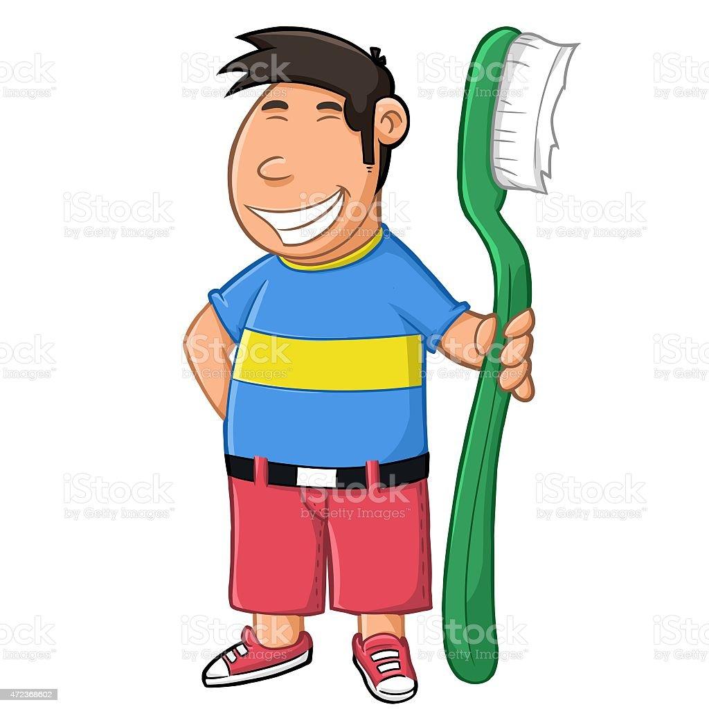 Let's toothbrush vector art illustration