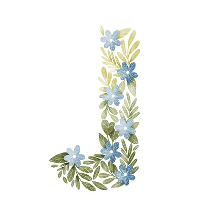 Letter J floral letter with blue flowers and green leaves