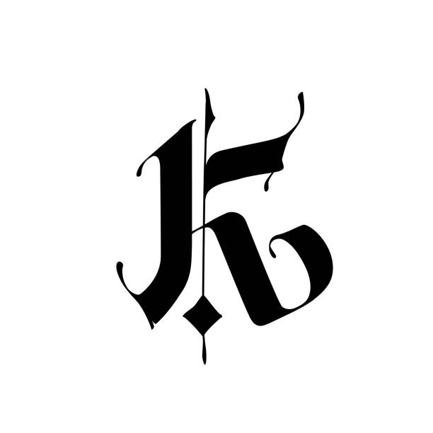 Letter K, in the Gothic style.  Alphabet. The symbol is isolated on a white background. Calligraphy and lettering. Medieval Latin letter. Logo for the company. Monogram. Elegant font for tattoo. Letter K, in the Gothic style.  Alphabet. The symbol is isolated on a white background. Calligraphy and lettering. Medieval Latin letter. Logo for the company. Monogram. Elegant font for tattoo. k logo stock illustrations