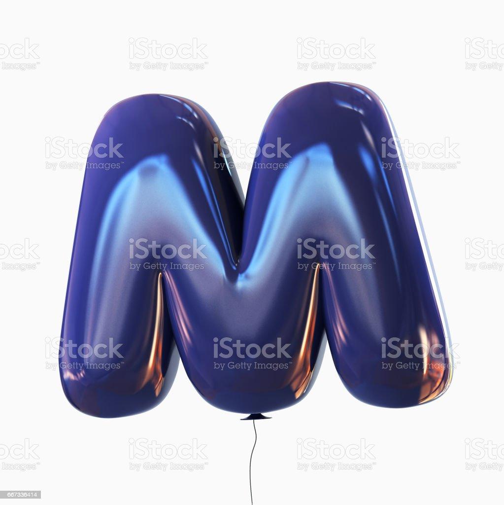 Letter M. Balloon font isolated on White Background vector art illustration