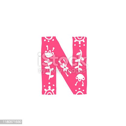 Letter N. Pink letter with ornament. Applique for clothes. Logo for the company.