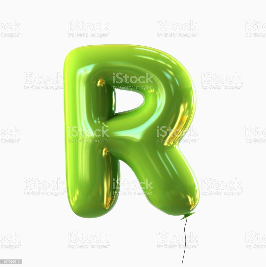 Letter R. Balloon font isolated on White Background vector art illustration