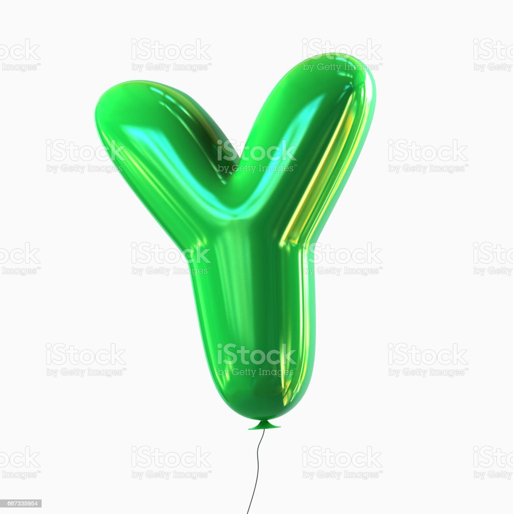 Letter Y. Balloon font isolated on White Background stock photo