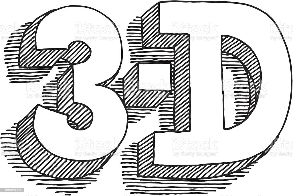 Lettering 3-D Drawing royalty-free stock vector art