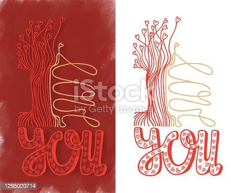 istock I LOVE YOU - lettering for holiday cards, greeting poster, Valentine banner, wedding invitation. Phrase, short text on red and white isolated backgrounds. Handwritten words with heart, trees. 1295020714