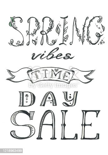 istock lettering spring sale vibes time day 1218963499