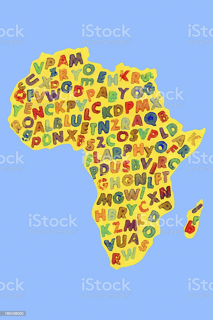Letters over Africa royalty-free stock vector art