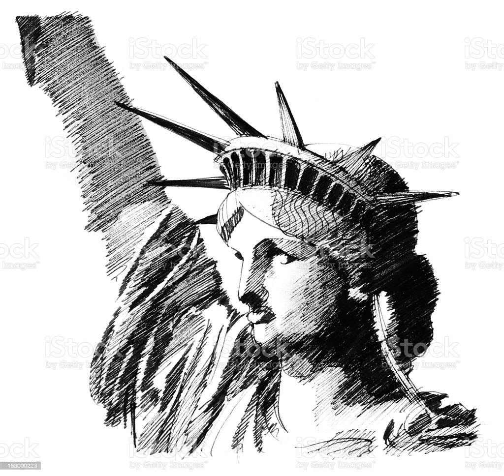 liberty statue vector art illustration