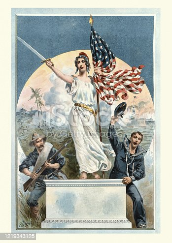 istock Liberty victorious during the Spanish American War of 1898 1219343125